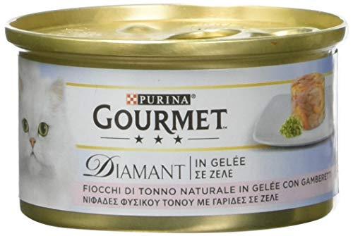 Gourmet Diamant Gatto Fiocchi di Tonno in Gelée con Gamberetti, 85 g - Confezione da 24 Pezzi