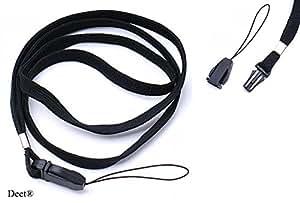Deet® Lanière Pour carte d'accès/Badge, téléphone portable, appareil photo, lecteur MP3, Etc. Noir