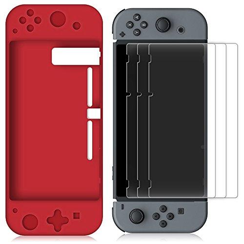 Silikon Hülle für Nintendo Switch mit 3 Display Schutz, FineGood Schutzmaßnahmen weichen Anti-Rutsch zurück Fall Deckung mit Anti-Scratch PET Films Skins - Red Film-scratch Guard