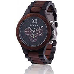 ZEITHOLZ wooden watch / Bewell GRUMBACH / 100% Sandalwood / natural product / featherweight / hypoallergenic / sustainable / comfortable to wear / timer / two coloured wristband
