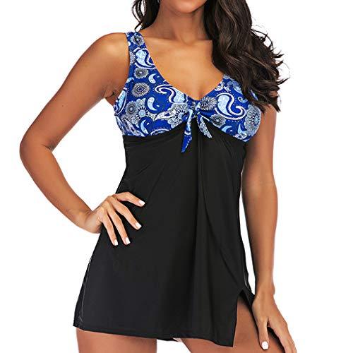kolila Boho Bikini Badeanzug Ethnischen Stil Damen Badeanzug Tankini Badebekleidung Mit Badeanzug Bottoms(Schwarz 2,L)