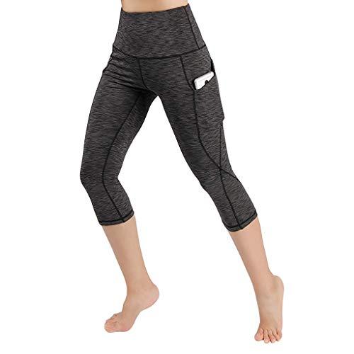 Luckycat Damen Doppeltaschen Sport Leggings 3/4 Yogahose Sporthose Laufhose Training Tights mit Handytasche Damen Laufhose Sporthose Sport Leggings Tights - Satin Vorne Mieder