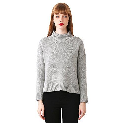 Loose Women Grandi Dimensioni a Collo Alto Camicia a Maniche Lunghe Impilati Maglione Spalla Dividere(S,Grigio)