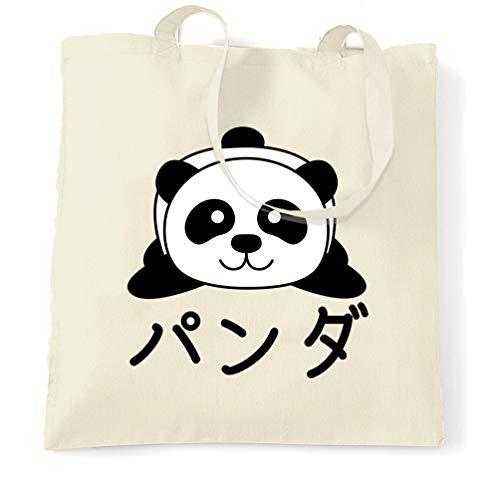 Tim And Ted Niedlich Tragetasche Japanischer Baby-Panda mit Text Natural One Size