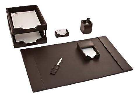 Dacasso Dark Brown Bonded Leather Desk Set, 8-Piece by Dacasso
