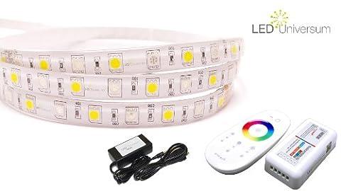 10 Meter (Set) mit Funkfernbedienung: hochwertige RGBWW LED Stripe Band Streifen Leiste mit 60 LED/m (weiße Oberfläche, 10m, IP65, wassergeschützt) + Funk-Controller und 6A