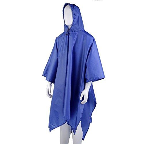 OUTAD 3 in1 Regenmantel Poncho, Matte, Rucksack-Abdeckung (Blue)