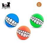 pretty petZ® Lustiger Hundeball [3er-Set] | Breites Grinsen Aufdruck für Spielspaß | Quietschspielzug für kleine und große Hunde | + Gratis E-Book (Boy, Blau, Orange, Grün)