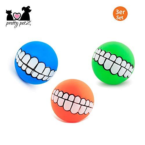 pretty petZ® Lustiger Hundeball [3er-Set]   Breites Grinsen Aufdruck für Spielspaß   Quietschspielzug für kleine und große Hunde   + Gratis E-Book (Boy, Blau, Orange, Grün)