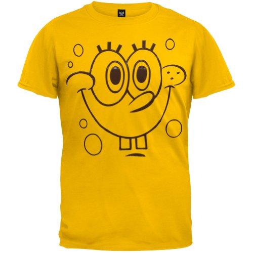 Old Glory Spongebob Schwammkopf–Herren Gel Print Gesicht Kostüm T-Shirt, Gelb, 041437 CT TS XS (Schwammkopf-kleidung Spongebob)