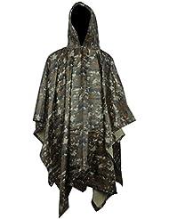 Poncho Imperméable Vestes Coupe-pluie,KINGCOO Durable Ripstop en PVC à Capuche Camouflage Veste de pluie Manteau pour la Chasse Camping Militaire Activités de plein Air