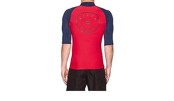 BILLABONG Mens Rotohand Short Sleeve Rash Vest Top Rosso