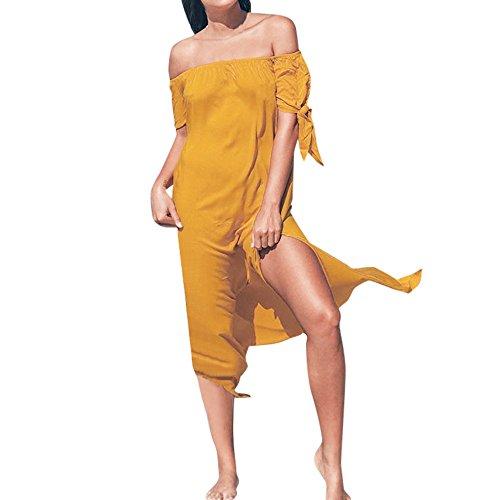 VJGOAL Damen Bikini Kittel, Frauen Elegant Sexy Solid Bikini Bluse Sommer Chiffon Strand aus Schulter Maxi Kleid Urlaub Badebekleidung Vertuschen ()