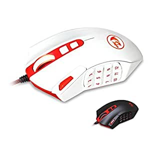 Redragon M901 PERDITION 16400 DPI High-Precision Programmable Laser Gaming Mouse for PC, MMO, 18 Programmable Buttons, Weight Tuning Cartridge, 12 Side Buttons, 5 programmable user profiles, Omron Micro Switches (White) Color: M901-W, Model: DS-2495W, PC / Computer & Electronics