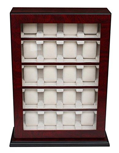 Uhrenbox Holz Für 20 Uhren bis 60 mm Sichtfenster Echtglas für Wand Kirsche Uhrenschatulle Uhrenvitrine