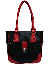 Fantosy Women Black And Red Lock Model Handbag Fnb-679