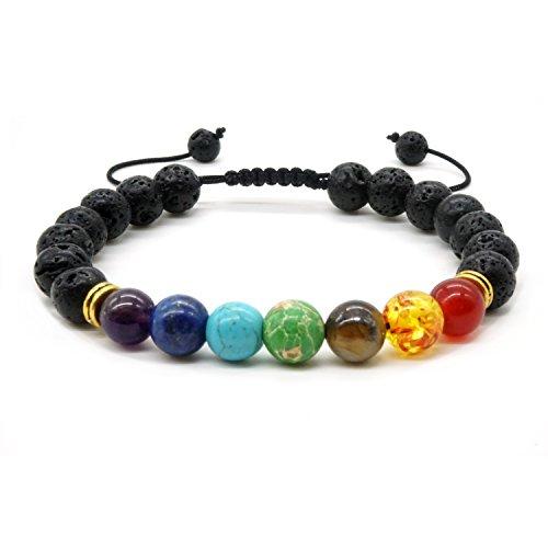 Pulsera trenzada de piedras de lava y de ojo de tigre, 7chakras, para hombres y mujeres, curación y energía, ajustable