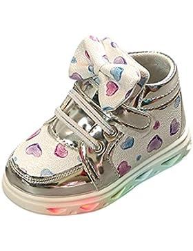 Prevently Junge Lampe Schuhe Mädchen-Liebesbogenlicht Beschuht Kleinkindart und weisebaby-Sportschuh-Herzlichtkinder...