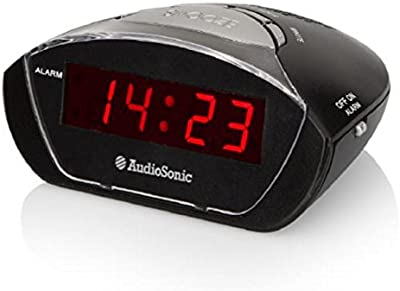 Audiosonic CL-1458 - Despertador con alarma, color negro