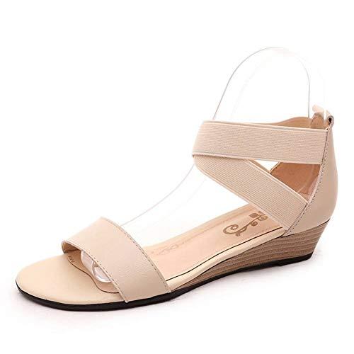 YANLIN Damensandalen Plus Größe 34-42 Neue Echte Leder Damen Sandalen Keile Niedrige Ferse Sommer Freizeitschuhe Schwarze Damenmode Schuhe -