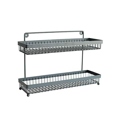 Regal Multifunktionsdoppelschicht-Schmiedeeisen-Küchen-Würze-Speicher- / Badezimmer-Gestell-Tisch-Schwingen-Wandbehang Doppelt-verwenden Sie -