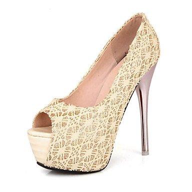 Zormey Frauen Schuhe Spitze/Stiletto Heel/Peep Toe/Plattform/Open Toe Pumps Hochzeit Schuhe/Party & Amp Abend-/Kleid Schwarz/Rot US8 / EU39 / UK6 / CN39