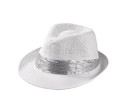 Hut Herren Damen Partyhut Stroh Hut mit Pailetten H51034 (Weiß) ()