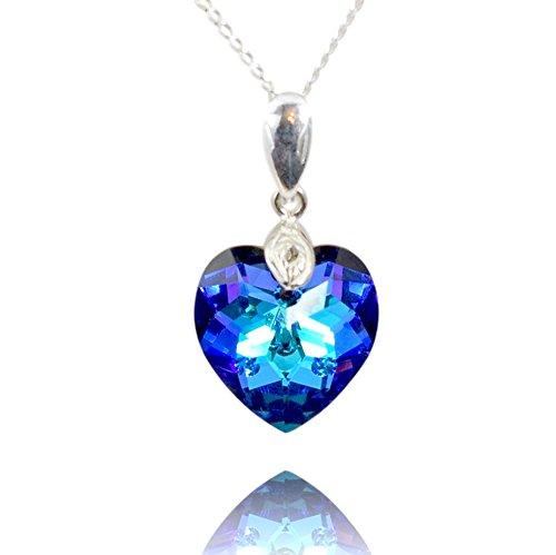 Crystals & stones *cuore* 18 mm *rainbow dark* con catena in argento 925 con elementi swarovski® originali, ciondolo collana catena con custodia per gioielli, ideale come regalo per donna o ragazza