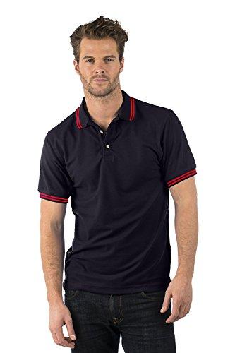 Bruntwood Aufgeld Gespitzter Polo Hemd - Premium Tipped Polo - Herren & Damen - 220GSM - Polyester/Baumwolle Schwarz/Rot