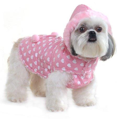 Kostüm Der Fuchs Und Hunde - Hundemantel - Millionen Herzen hoodie Regenmantel, Farbe rosa mit vielen weißen Herzen. Dusche Beweis. Sehr weiche pelzige Futter mit verstellbaren Klettverschluss. Pompoms auf dem Fell und Pelz an der Kapuze. Größe 8