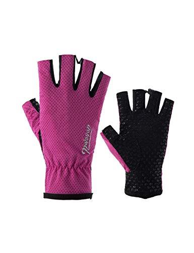 Kostüm Angel Ice - WYSTAO UV-Schutz Angeln Handschuhe Ice Silk Atmungsaktiv und schnell trocknend Persönlichkeit Mode Reithandschuhe Wandern Angeln rutschfeste Männer und Frauen Rosa Handschuhe (Color : 1 Pair)