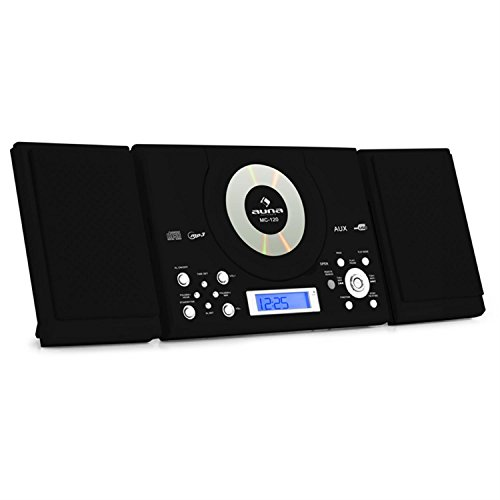auna MC-120 Stereoanlage Design Microanlage mit CD-Player (MP3-fähig, Radio-Tuner, Wandmontage, Wecker) schwarz