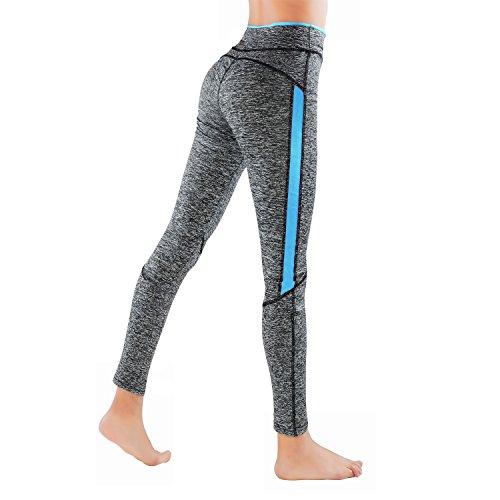 GoVIA Legging pour femme Pantalon de course à pied Pantalon de sport respirant Pantalon de Yoga Fitness Taille haute Long Rayures 4113 Lot de 2 (Rose& Bleu)