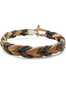 Adisaer Herren Armband Leder Webart Kette Weben Armreifen Braun Für Männer Lange 22CM Punk Armbänder