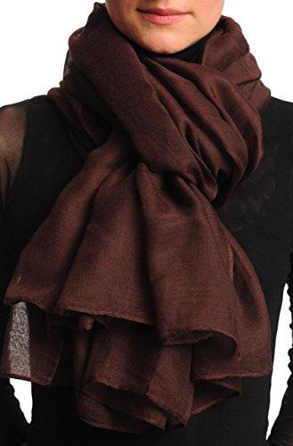 LissKiss Plain Dark Chocolate Brown Unisex Scarf & Beach Sarong - Braun Scarf, Schal Einheitsgroesse (110cm x 180cm) -