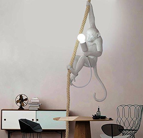 Nordic Creative Affe Deckenleuchte, Acryl Affe Hanf Seil LED Kronleuchter, Restaurant Schlafzimmer Studio geeignet, 72cm hoch, E27 Glühbirne (nicht enthalten)