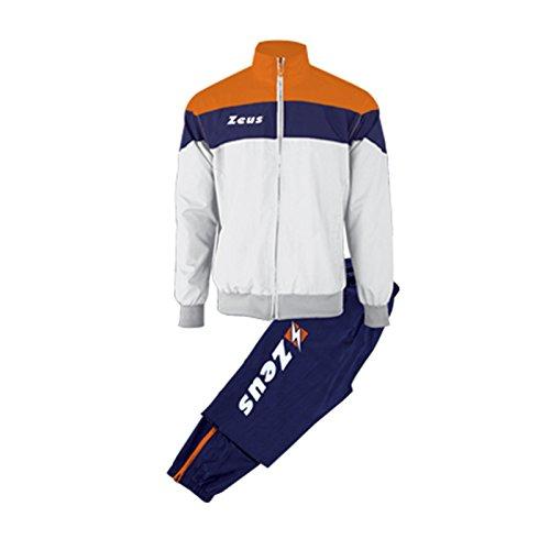 Zeus Herren Sportanzug Trainingsanzüge Running Laufen Training Sport Set Trikot Shirt Shorts Hosen TUTA LYBRA BLAU WEISS ORANGE (M)