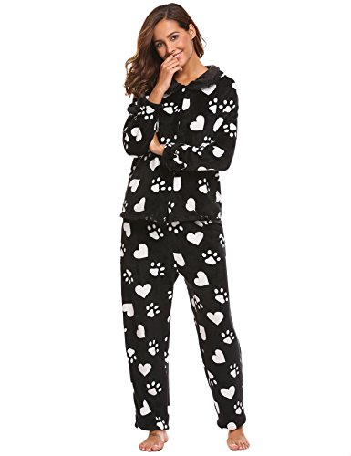 ADOME Damen Jumpsuit Langarm Schlafanzug Erwachsene Pyjama Hausanzug Unisex Cosplay Schwarz551