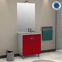 Meuble vasque rouge for Amazon meuble de salle de bain