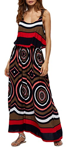 Womens Elegant Boho sans manches Backless Beach Dress Hem Maxi Dress Robe de vacances ré