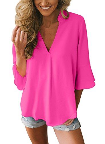 FIYOTE Bluse Damen Chiffon Elegant Bluse Hemd aus Fließendem Stoff Leicht Langarmshrit V-Ausschnitt T-Shirt für Sommer Rosarot XL