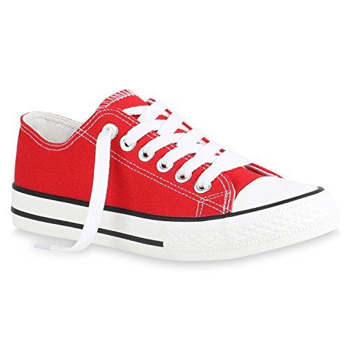 Scarpe da ginnastica, da donna | ideali per tempo libero e lo sport | scarpe basse | dimensioni ampie | flandell®, rosso (rot brooklyn), 45 eu