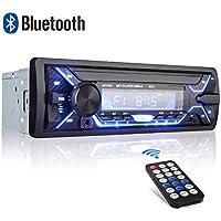 Radio Voiture, Autoradio Bluetooth 1 Din, 7 Couleurs Stéréo Vidéo FM Radio 4x60W Poste Audio avec LCD Microphone Support USB/SD/AUX/EQ / MP3 avec Télécommande