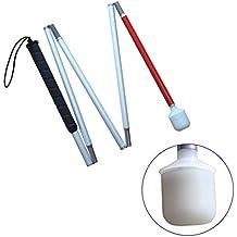 Aluminio Baston Blanco para Ciegos y Baja Vision Plegable, 5 Secciones, 120cm (47.2 pulgada)