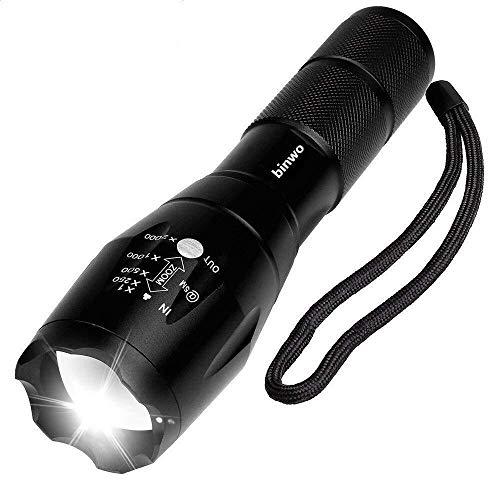 BINWO BBE1-01 A100 Taktische Hochleistung-Superhelle LED Handgerät Tragbare Wasserdichte Taschenlampe im Freien mit Einstellbarem Fokus und 5 Leuchtungsmodi, 1 Stück