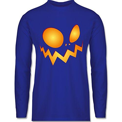 Halloween - Kürbisgesicht groß Pumpkin - Longsleeve / langärmeliges T-Shirt für Herren Royalblau