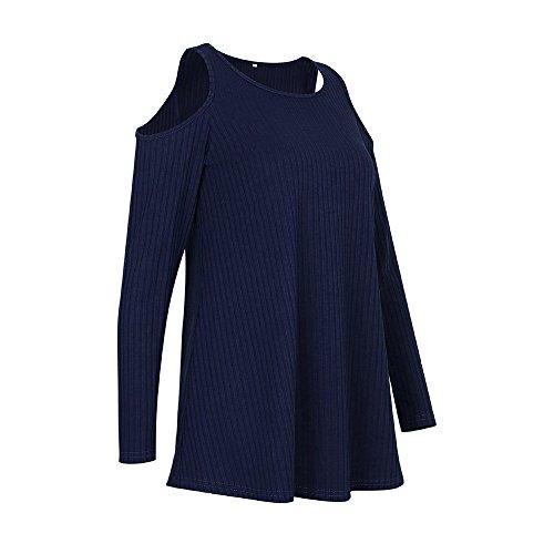 Vertvie Femme T-Shirt à Manches Lonuges Épaule Nue Col Rond Top Haut Blouse Casual Bleu Foncé