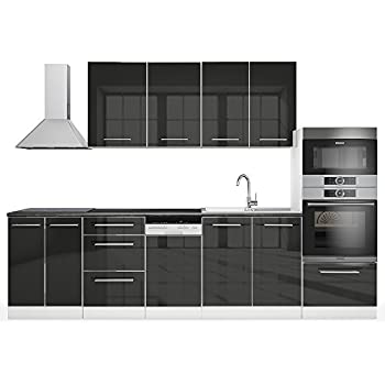 Vicco küche 295 cm küchenzeile küchenblock einbauküche anthrazit hochglanz vollmetall soft close scharniere s line