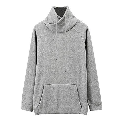 UJUNAOR Herren Frühling Herbst Top Freizeithemd Mit Kapuze Shirt Lang Sweatshirt Solide Mode Outwear Sport Gym Fitness(Grau,CN L)