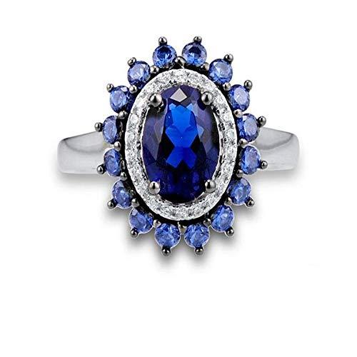 OLGN Ringe Für Silberne Ringe Für Frauen 925 Sterlingsilber Neuester Funkelnder Schellt Himmel-Blau-Art- Und Weiseschmucksachen @ 7